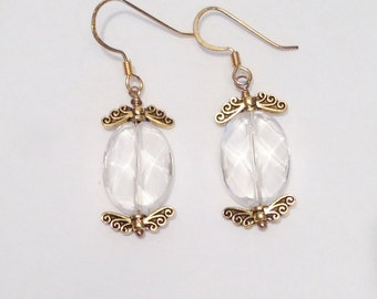 White Topaz Drop Earrings with Antique Gold Detail