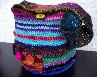 Handspun boho dream bag, crochet bag, shoulder bag, hippie bag, wool bag, boho bag, earth bag, knitting bag, tote, pixie bag, buttoned bag