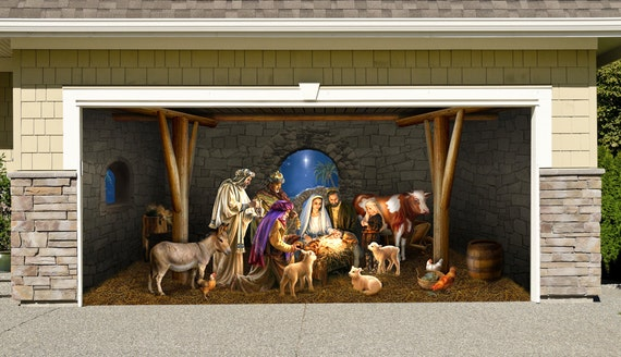 Outdoor decoration nativity scene garage door christmas for Decoration noel porte de garage