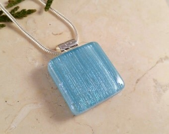 Fused Glass Pendant, Turquoise with Dichroic Accents 16135