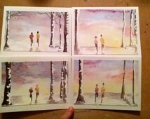 Winter Running Duo (greeting card) birch trees sunset/sunrise original Watercolor paintings, ultra running trail runners, running friends