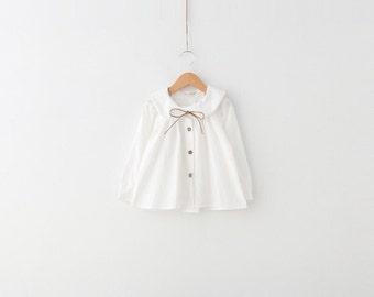 Girls White Peter Pan Collar Blouse Top 100% cotton size 3T - 4T