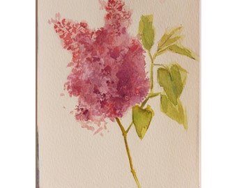 Original Floral Watercolor Painting, Pink Lilac Watercolor, House Warming Gift, Free shipping!