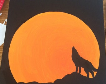 Howling Wolf & Moon Canvas