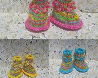 Knitted baby booties-Rainbow
