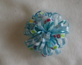 Pastel Blue Easter Egg Loopy Hair Bow