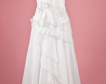 Layered Chiffon bodice and skirt wedding dress