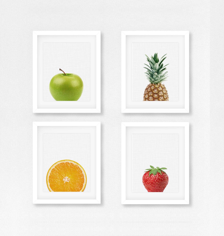 Set of 4 fruit prints kitchen wall art canvas fruits - Kitchen canvas wall decor ...
