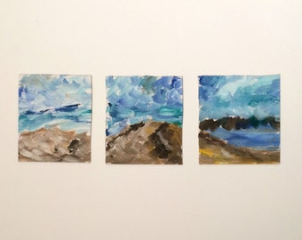 Southampton Beach Triptych - Original Oil Paintings