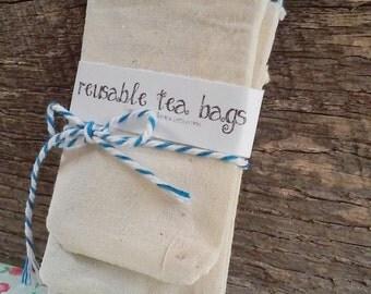 Reusable Handmade Cotton Drawstring Herbal Tea Bag With Charm (3 Bags)