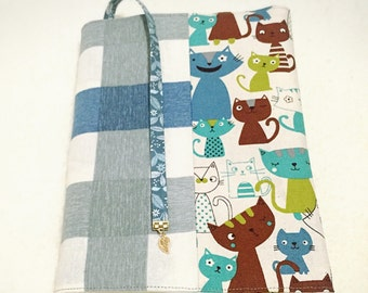 Adjustable Fabric Bookcover with Cats in Blue and Gray