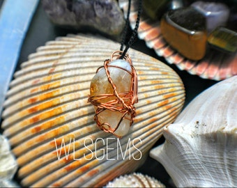 Copper Wire Wrapped Citrine Necklace