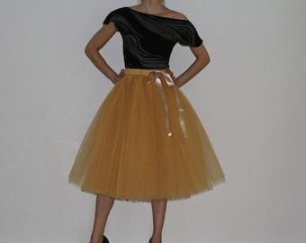 Tulle skirt petticoat beige caramel 70 cmRocklänge