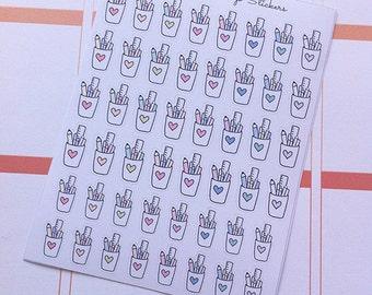 Doodle Pencil Cups Planner Stickers - DOODLE