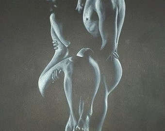 "Acrylic painting PRINT - ""Love in the Dark"""