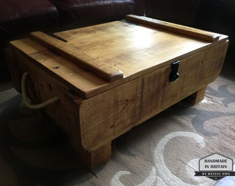Rustic 3ft Storage Chest Coffee Table. Rough Sawn Plank Pine. Handmade in the UK