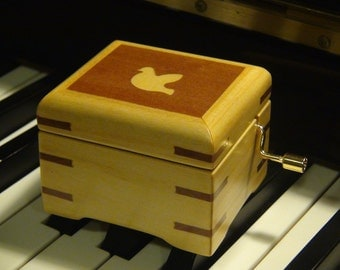 Wooden music box  - Hand Crafted featuring Dove marquetry work with 18 notes hand crank music box play selected song