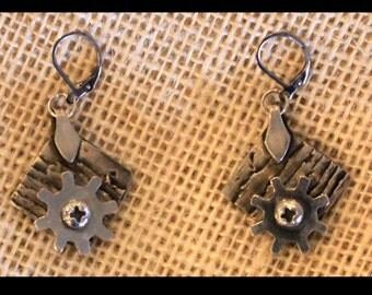 Earrings Only - Wood Grain w/ Moving Gears