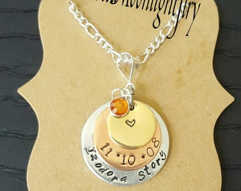 Stack of 3 Hand stamped rounds  ,Hand stamped necklace