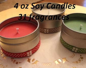 4 oz Soy Candles (10), Clean Burning Soy Candles Favors, 100% Natural Soy Candles, Soy Candles Gifts, Stocking Stuffers, Soy Candle Favors