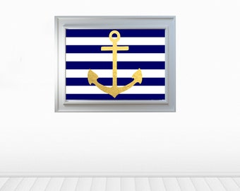 Anchor with stripes wall decor