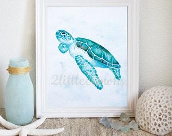 Turtle Watercolor Painting Printable Coastal Decor Coastal Wall Art Ocean Theme Art Ocean Theme Nursery Art Instant Download 8x10 11x14