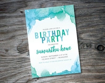 Birthday Party Invite, Green, Teal, Watercolor, Printable, DIY, Invitation, Script Font, Party Invite, All Ages, Birthday Girl, Teen Party