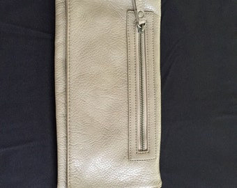 Taupe leather clutch purse