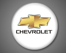 """Chevrolet - Pin Button Badge 1"""" inch - Chevy - Bowtie - American Car Manufacturer - Pinback Accessory"""