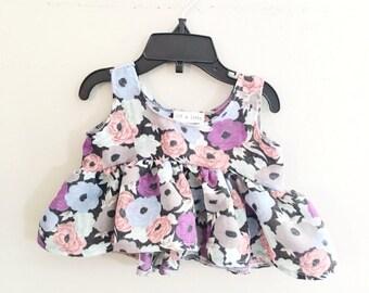 Ruffled crop top toddler girls floral top