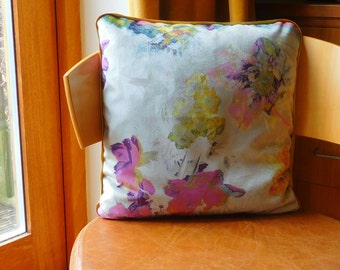 """Velvet floral cushion in pinks, purple and gold. 16"""" x 16"""" square velvet floral cushion. Velvet floral pillow."""