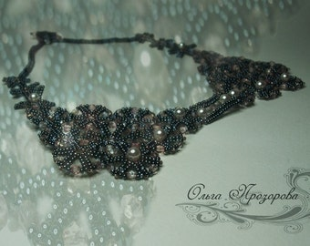 """Handmade Necklace """"Beaded Lace"""" / Sparkling beaded collar / Beaded Necklace with Swarovski Pearls"""