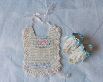 Tiny Hand Crocheted Baby Bib and Booties, Trimmed with Pink and Blue, Vintage 1940s