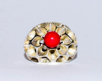 925 sterling silver ring coral