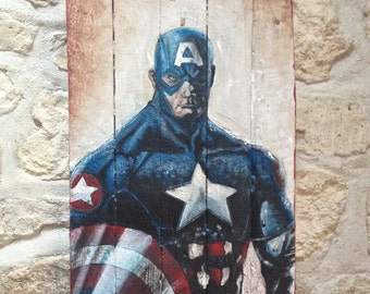 Paint super hero on recycled pallet wood