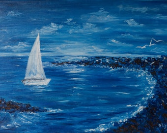 Art painting acrylic art Palette knife Seascape painting mens gift for him Original wall art Sign decor blue sea White sail Large canvas