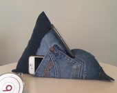 iPad Tablet Kindle Phone Book Holder Bean Bag Stand. Upcycled denim Perfect Gift
