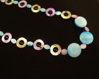 Shell Necklace Purple Green and Blue
