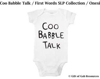 Coo Babble Talk hand painted SLP Language Collection - Onesie, Momma Shower, Smart Baby, Boho Baby, Hipster Baby, Non-toxic ink, Momma to be