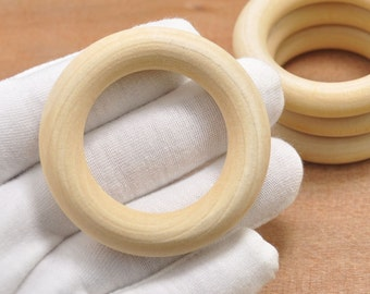 "2.16""Craft Wooden Rings, 20pcs Unfinished Wood Rings 55mm, Wooden Teething Rings,Wood Toys,Rings for Organic Toys,DIY Wood Rings"