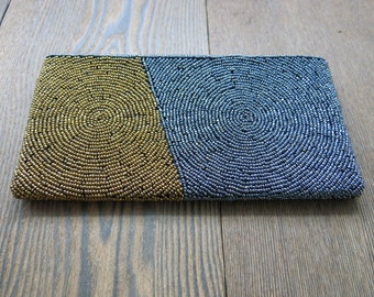 Beaded Gold and Blue wrist Purse