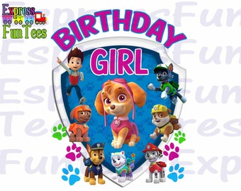 Paw patrol Iron on transfer Instant download - paw patrol birthday boy shirt iron on - Paw patrol boys shirt paw patrol shirt iron on