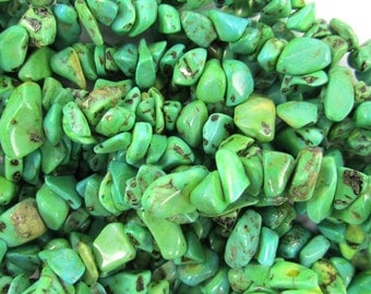 "5-10mm green turquoise chip beads 35"" strand chips"