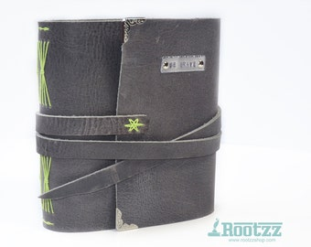 Hand bound leather journal with watercolorpaper Be Brave