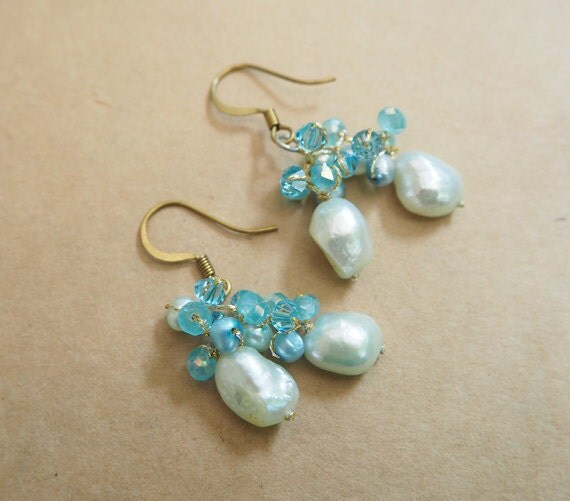 infant pearl earrings baby blue freshwater pearl earring 2181