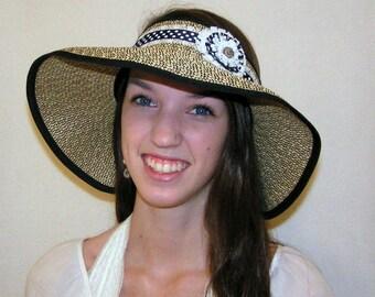 Straw Sun Visor Hat,Shabby Chic,Packable, Adjustable,UPF 50+,Beach hat to Wedding & anywhere between,Stunning Causual Elegance,Custom Fit