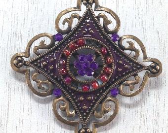 Stunning Estate Modern Enameled Purple Rhinestone Gold Tone Brooch