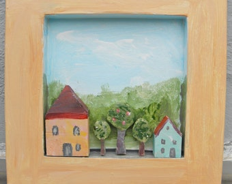 Image with small wooden houses