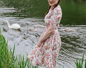 Floral dress, summer dress, flower dress, vintage style dress, mini-length dress, cotton dress, garden party dress, occasion wear, SS16