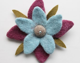 Needle Felted Flower Brooch with Swarovski Crystal- Wool Accessories- LittleMiniTitchy™ - UK